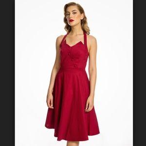 Lindy Bop Myrtle Red Halter Swing Dress